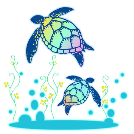 Illustration of colorful shell sea turtles and water plants  イラスト・ベクター素材