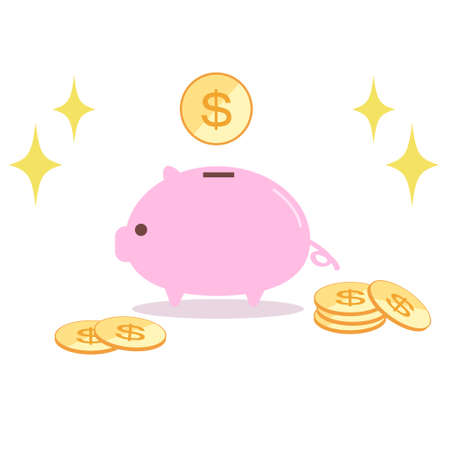 Illustration of pig pig piggy bank and coin  イラスト・ベクター素材