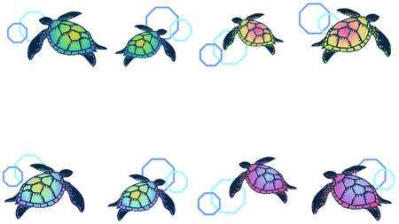 Colorful sea turtle decoration frame
