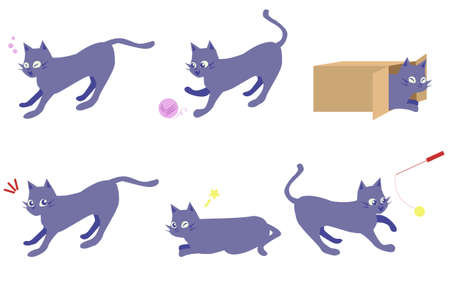 A set of relaxing cats  イラスト・ベクター素材