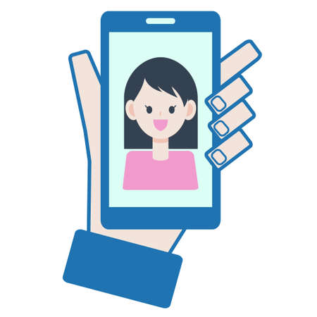 Woman on the screen while talking on the smartphone  イラスト・ベクター素材