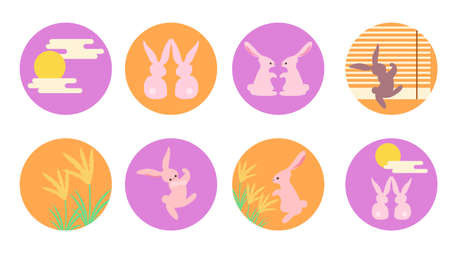 Moon-watching Rabbit Icon Set