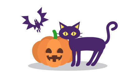 Illustration of pumpkins, black cats and bats  イラスト・ベクター素材