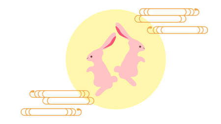 Illustration of two rabbits a month  イラスト・ベクター素材