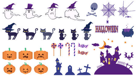 Halloween eddies and pumpkin illustrations