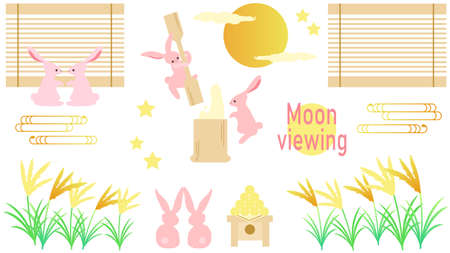 Autumn Moon And Rabbit Illustration Set  イラスト・ベクター素材