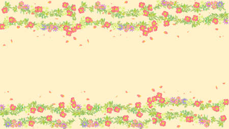 Horizontal line background material of flowers 写真素材