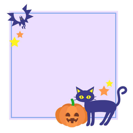 Halloween-style cat and pumpkin frames