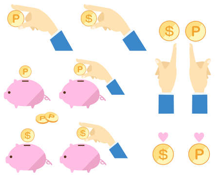 Pig piggy bank and hand set illustration