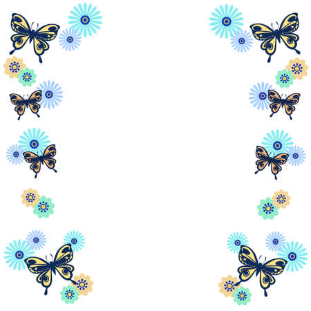 Frame of Flowers and Butterflies