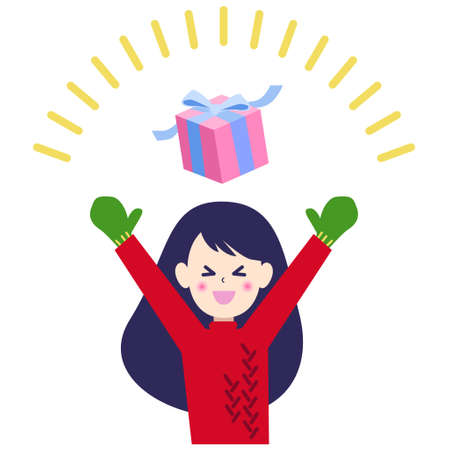 Illustration of a woman who is happy to receive a present  イラスト・ベクター素材