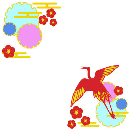 Japanese-style material of cranes  イラスト・ベクター素材
