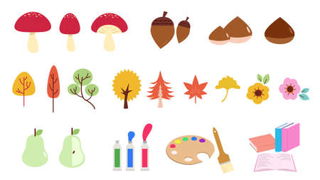Set of Icon Illustrations for Autumn  イラスト・ベクター素材