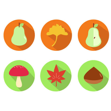 Set of icon illustrations of autumn taste