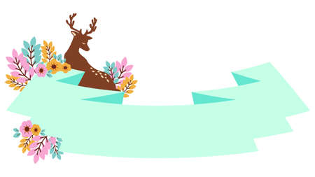 Deer and Ribbon Decoration Label Illustrations