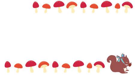 Squirrel and red mushroom frame  イラスト・ベクター素材