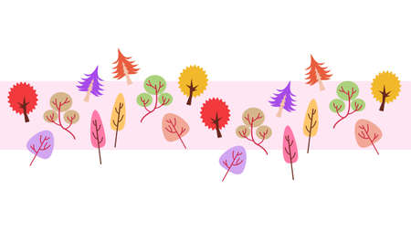 Colorful trees pattern material  イラスト・ベクター素材