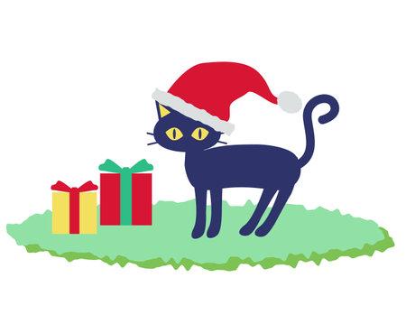 Cat in Santa hat and present