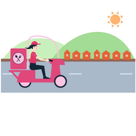 Female driver delivering on motorbike cityscape background  イラスト・ベクター素材