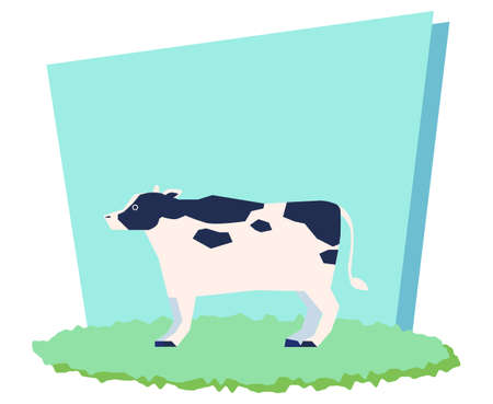 Cow standing on grassland and light blue background  イラスト・ベクター素材