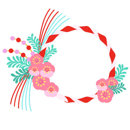 Japanese-style red and white rope and plum blossom frame  イラスト・ベクター素材