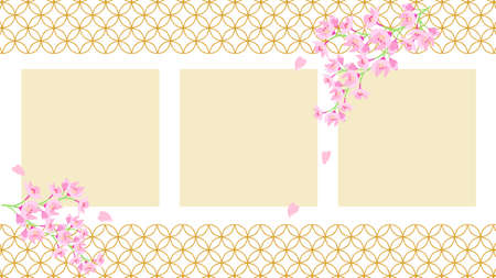 Background material with cherry blossoms and cloisonned patterns