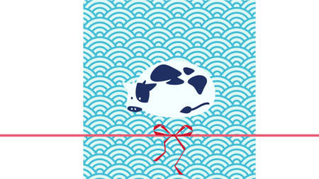 Japanese-style illustration of cow and blue sea wave pattern