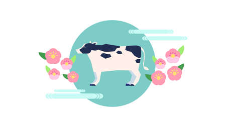 Illustration of pattern with cow and Japanese style flowers