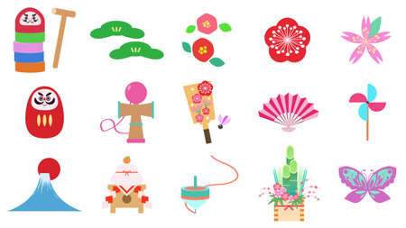 Set of New Year's icon materials