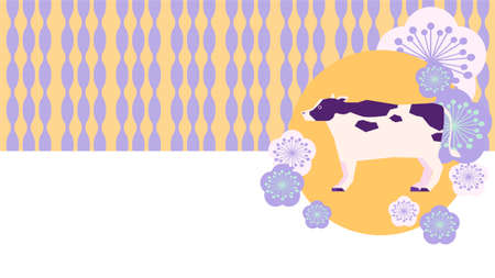 Cow and Japanese pattern background illustration  イラスト・ベクター素材