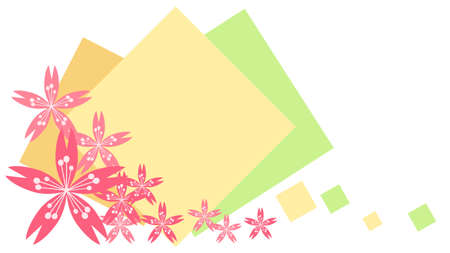 Cherry blossoms and diamond-shaped decorative frames