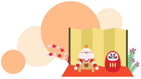 Japanese-style material with daruma and kagami mochi in front of folding screen