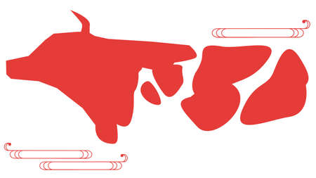 Silhouette material of cow facing sideways