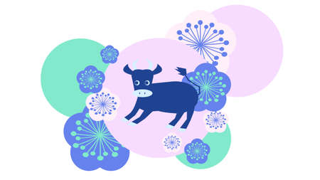 Japanese style modern illustration of cow and flower  イラスト・ベクター素材