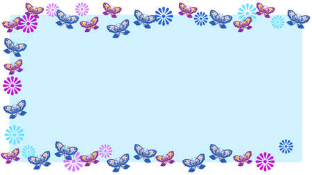 Butterfly and Flower Ornament Frame  イラスト・ベクター素材