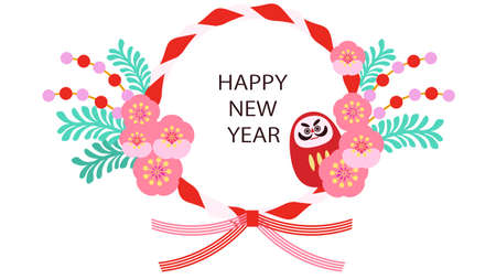 Japanese-style New Year's card material of daruma and flowers