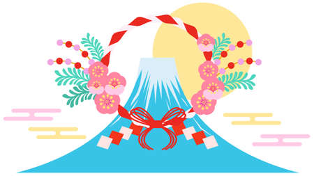 Japanese-style materials of plum blossom rope and Mt. Fuji  イラスト・ベクター素材
