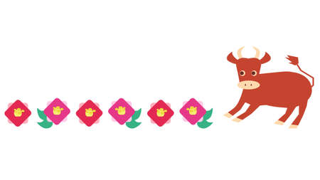 Japanese style illustration of camellia flower and cow 写真素材 - 160794832