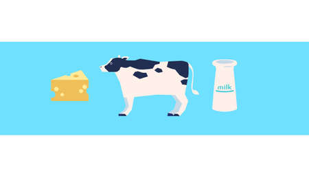 Cow and Dairy Illustration