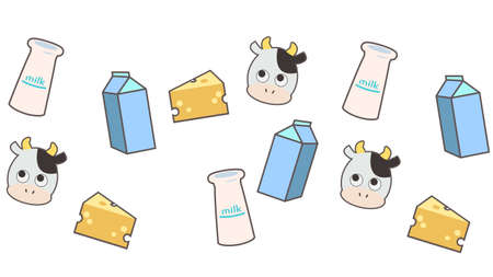 Background material lined with cow, milk and cheese  イラスト・ベクター素材