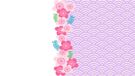 Cherry blossoms and cute blue sea wave pattern background material