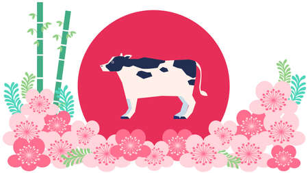 Japanese style illustration of cow and cherry blossoms
