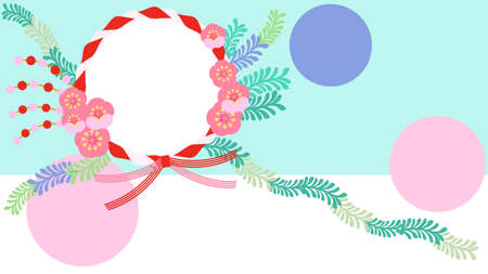 Japanese style flowers and red and white frame background material  イラスト・ベクター素材