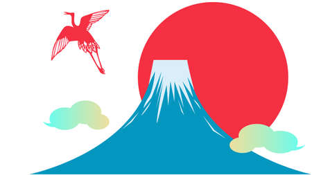 Japanese pattern background material of Mt. Fuji and the sun