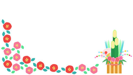 Kadomatsu and Tsubaki Flower Frame