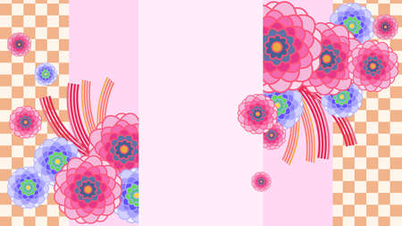 Japanese-style flowers and checkered background material  イラスト・ベクター素材