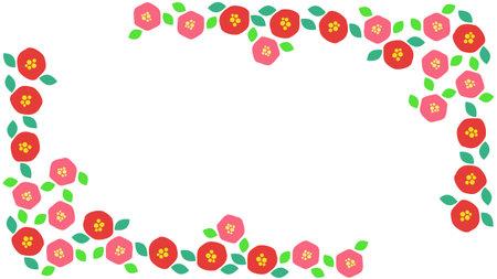 Camellia Flower Decoration Frame Material  イラスト・ベクター素材