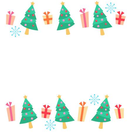 Christmas Tree and Gift Frame Illustration