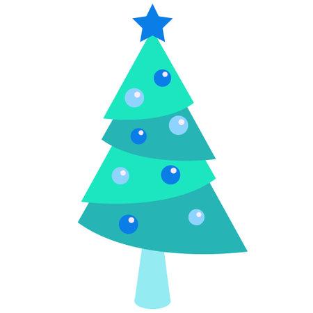 Blue Christmas Tree Illustration 写真素材 - 161013513