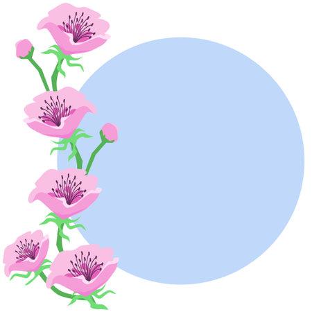 Anemone Flower Round Frame 写真素材 - 161260905